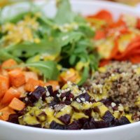 Fall Harvest Bowl with Turmeric Dressing