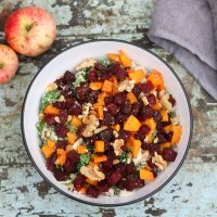 vegan apple walnut squash salad